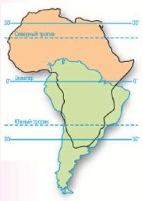 Сходство и различие географического положения Южной Америки и  Сравнение географического положения Южной Америки и Африки