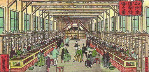 Япония в конце xix начале xx веков Новая история Реферат  Фабрика в Японии Гравюра 1850 х гг