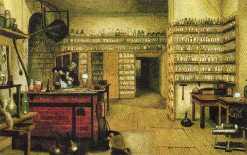 Физика в начале века Новая история Реферат доклад  М Фарадей в своей лаборатории Акварель 1850 х гг